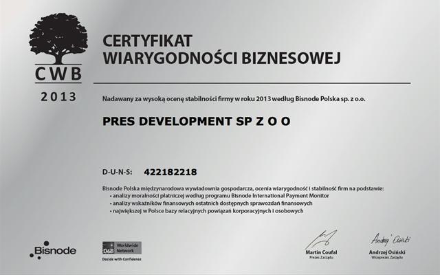 PRES Deweloper - SWB srebrny